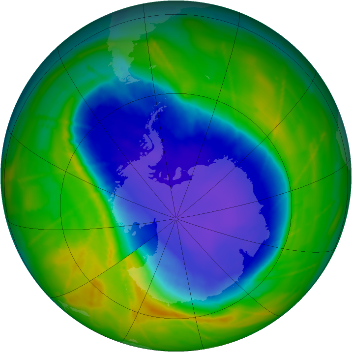 Antarctic ozone map for 18 October 2010