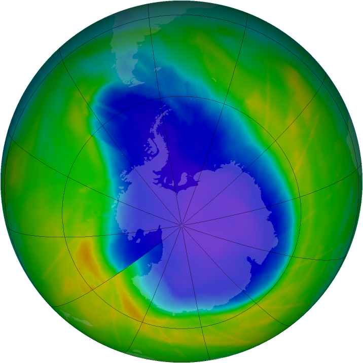 Antarctic ozone map for 19 October 2010