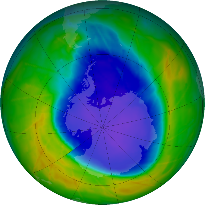 Antarctic ozone map for 20 October 2010