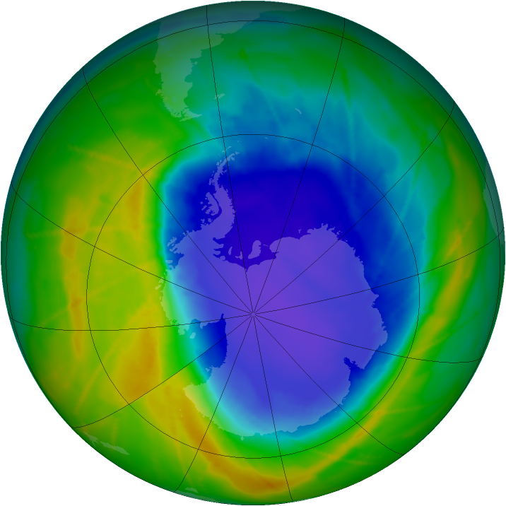 Antarctic ozone map for 22 October 2010