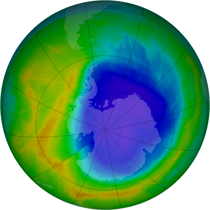 Antarctic ozone map for 23 October 2010