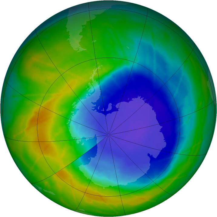 Antarctic ozone map for 24 October 2010