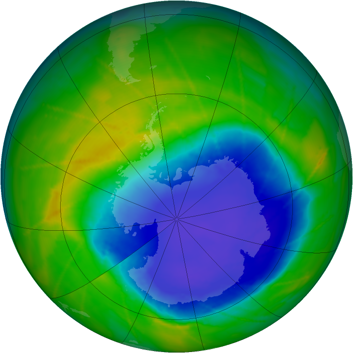 Antarctic ozone map for 29 October 2010