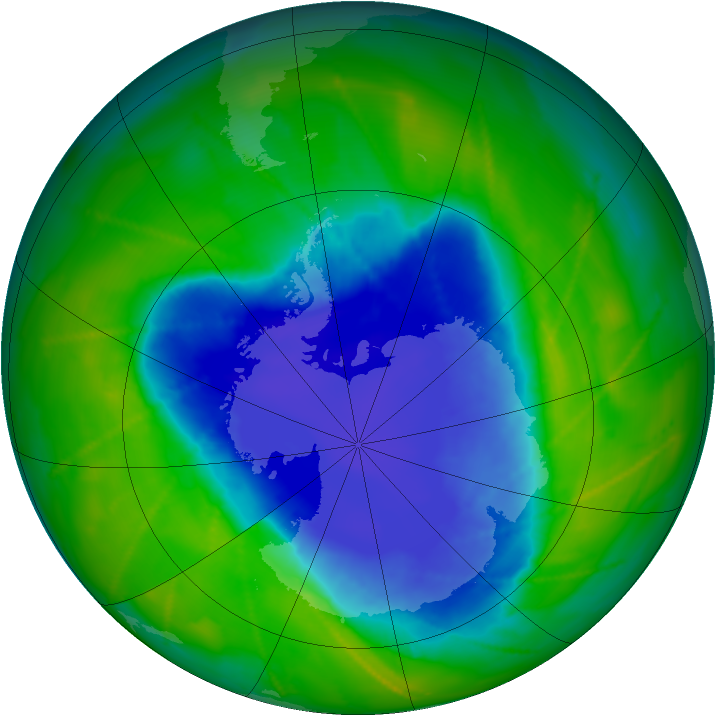 Antarctic ozone map for 14 November 2010
