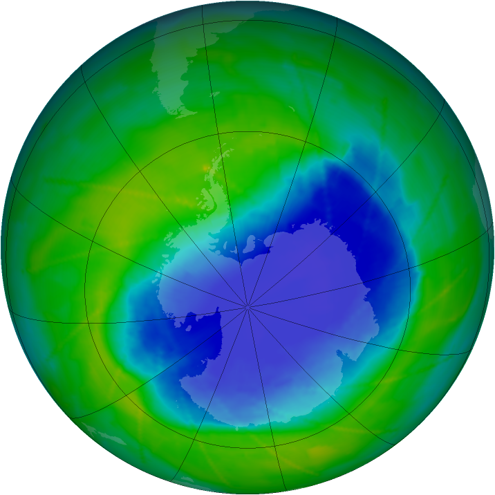 Antarctic ozone map for 24 November 2010