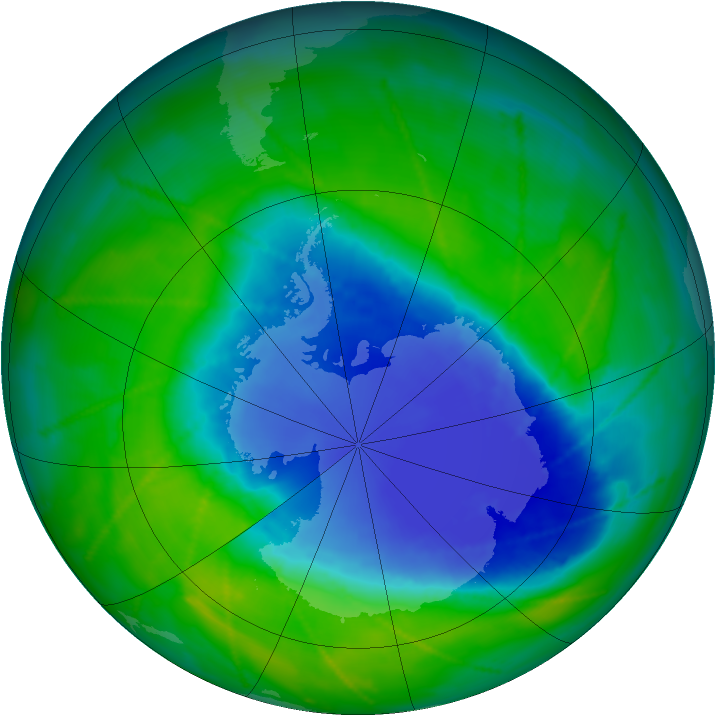 Antarctic ozone map for 27 November 2010