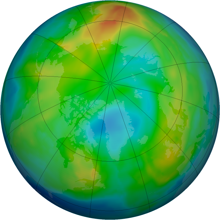 Arctic ozone map for 28 November 2010