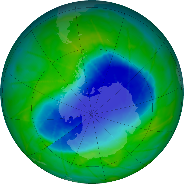Antarctic ozone map for 02 December 2010