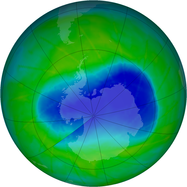 Antarctic ozone map for 03 December 2010