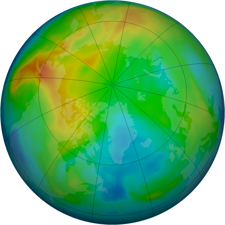 Arctic ozone map for 05 December 2010