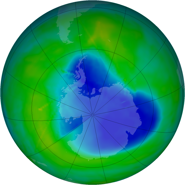Antarctic ozone map for 05 December 2010