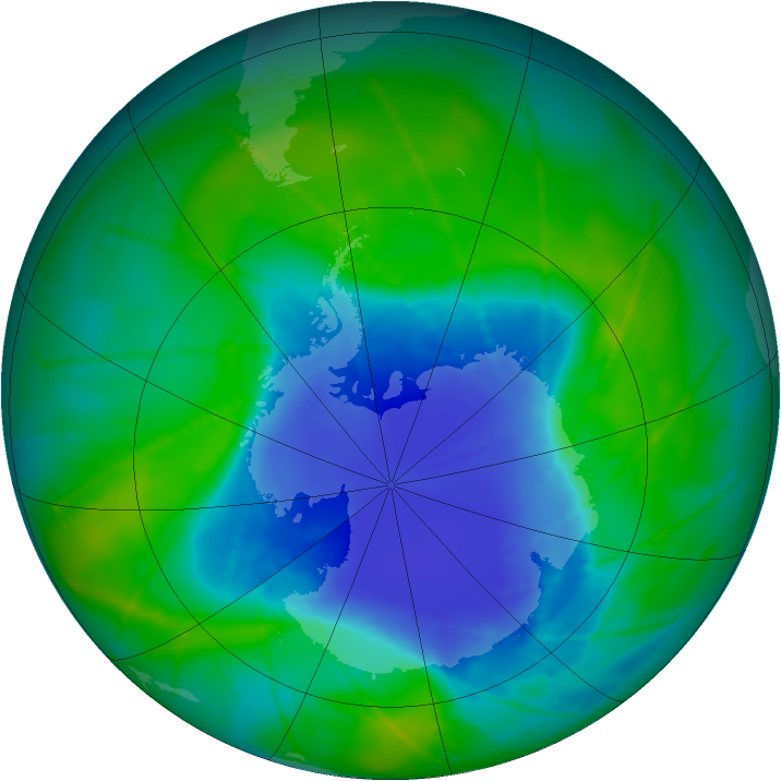 Antarctic ozone map for 09 December 2010