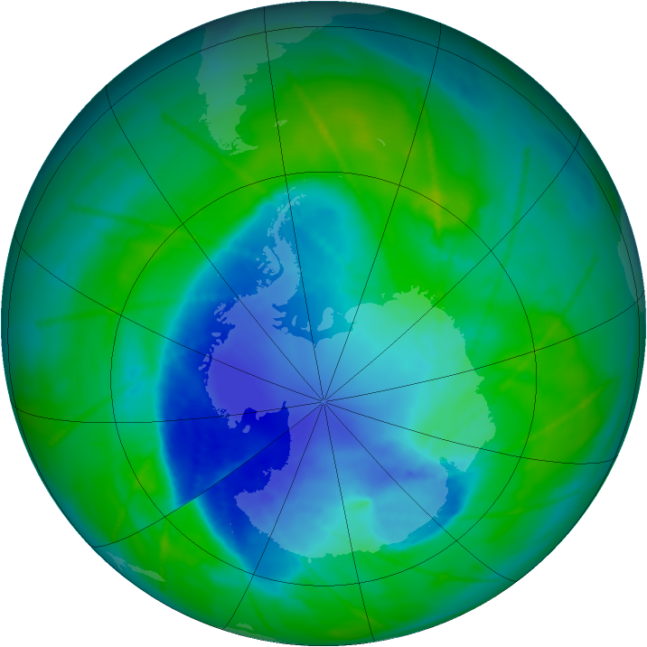 Antarctic ozone map for 14 December 2010