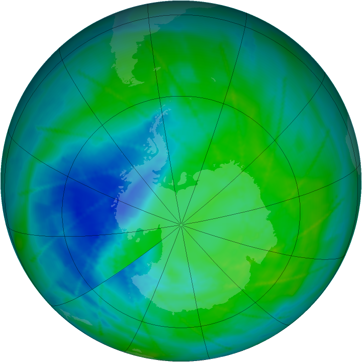 Antarctic ozone map for 19 December 2010