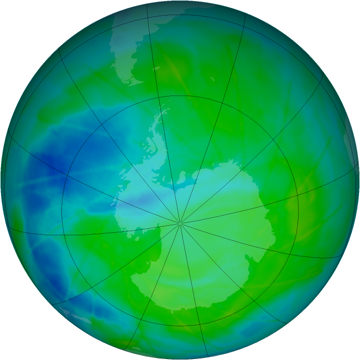 Antarctic ozone map for 21 December 2010