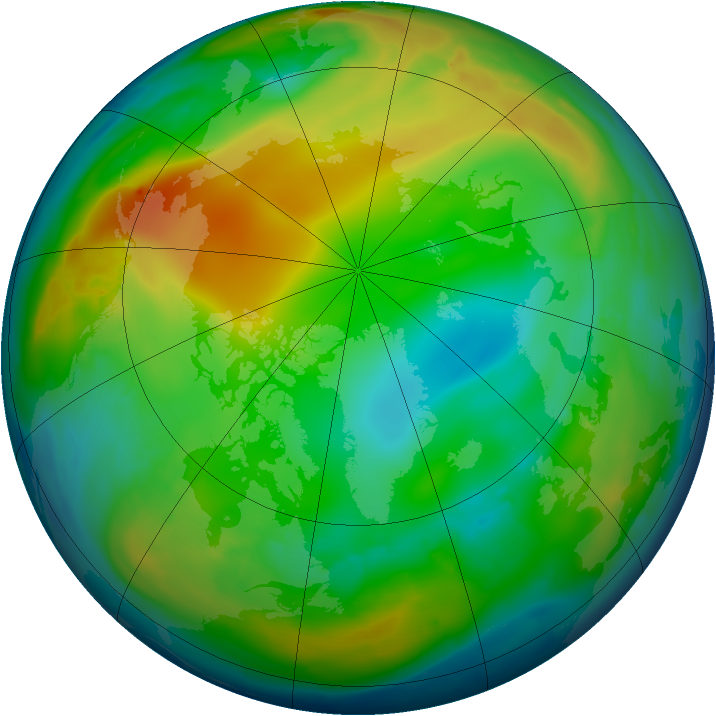Arctic ozone map for 25 December 2010