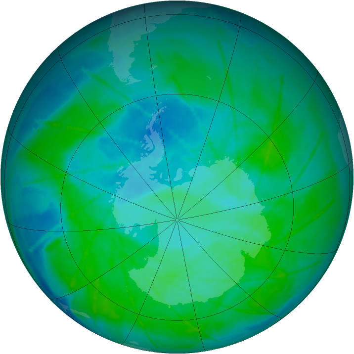 Antarctic ozone map for 28 December 2010