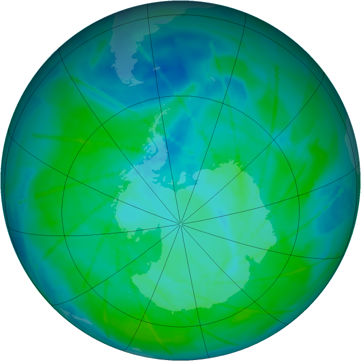 Antarctic ozone map for 02 January 2011