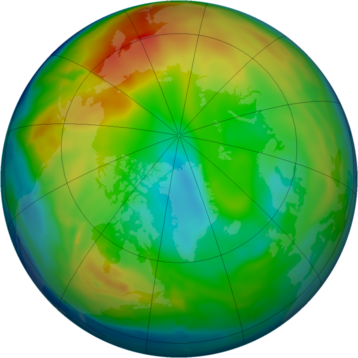 Arctic ozone map for 06 January 2011