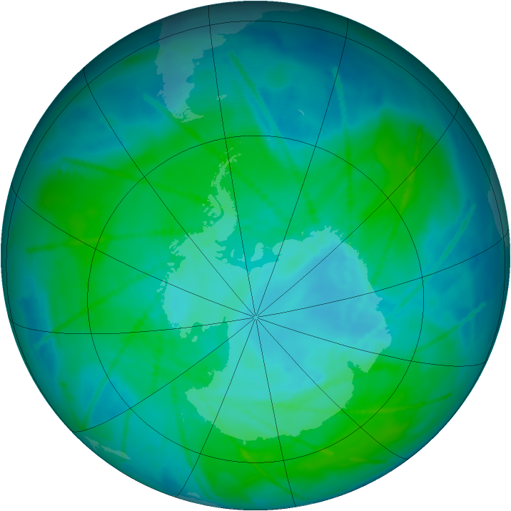 Antarctic ozone map for 08 January 2011