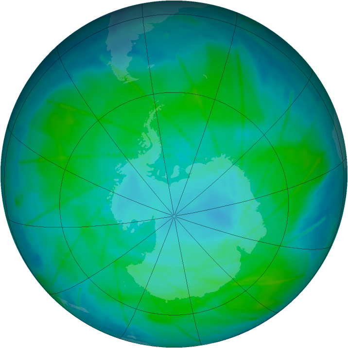 Antarctic ozone map for 10 January 2011