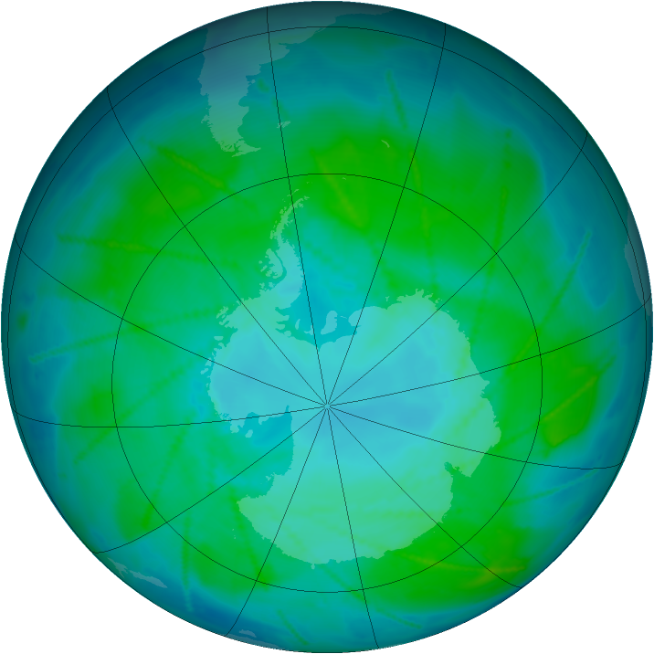 Antarctic ozone map for 11 January 2011