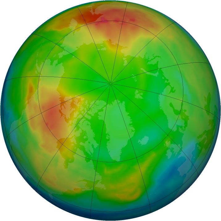 Arctic ozone map for 12 January 2011