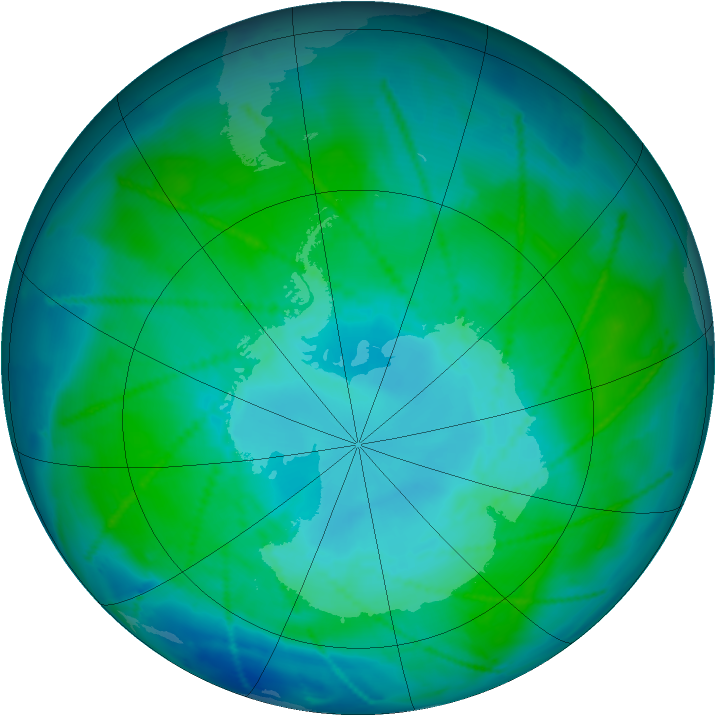 Antarctic ozone map for 14 January 2011