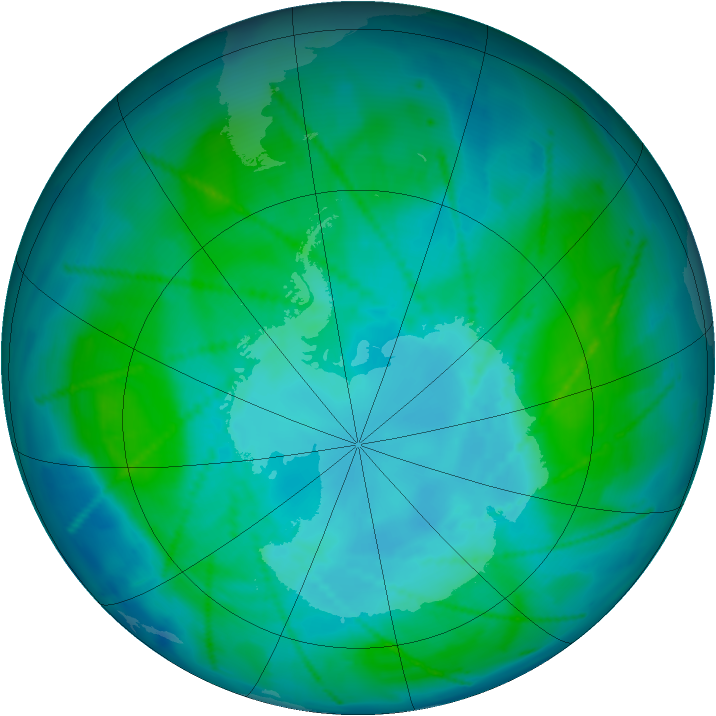 Antarctic ozone map for 18 January 2011