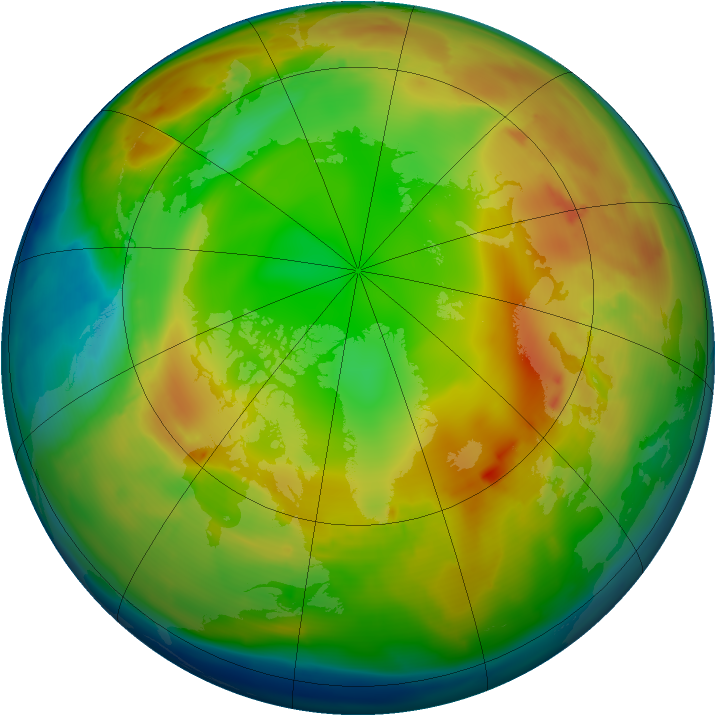 Arctic ozone map for 19 January 2011