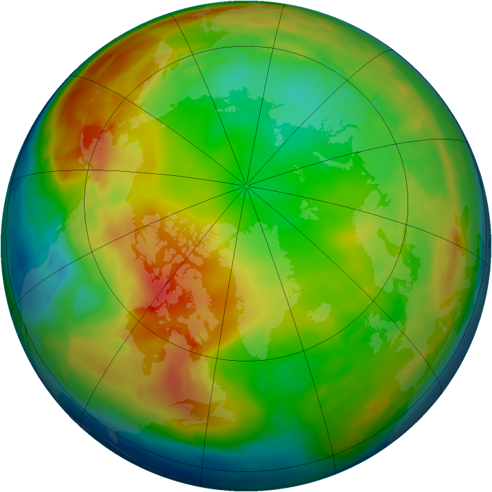 Arctic ozone map for 24 January 2011