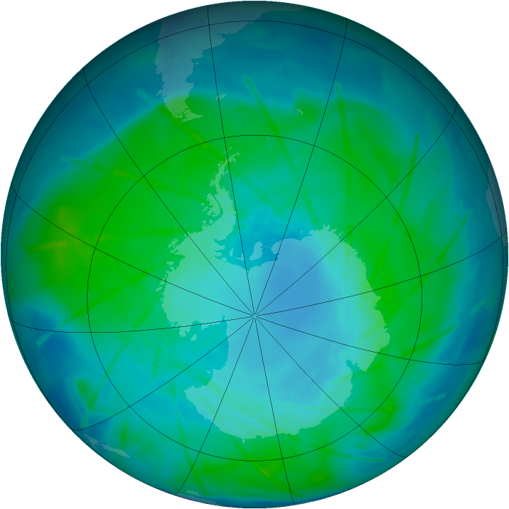 Antarctic ozone map for 24 January 2011