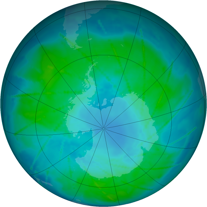 Antarctic ozone map for 26 January 2011