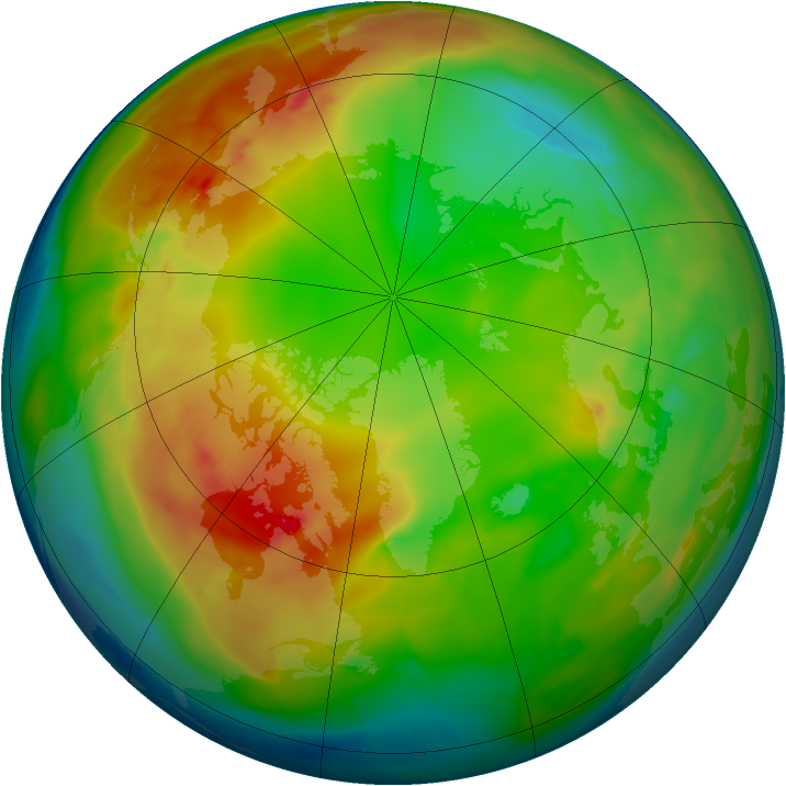 Arctic ozone map for 29 January 2011