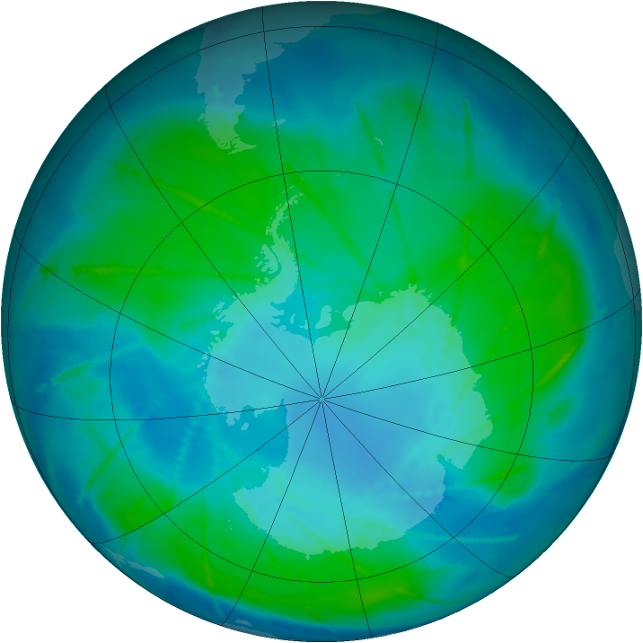 Antarctic ozone map for 30 January 2011