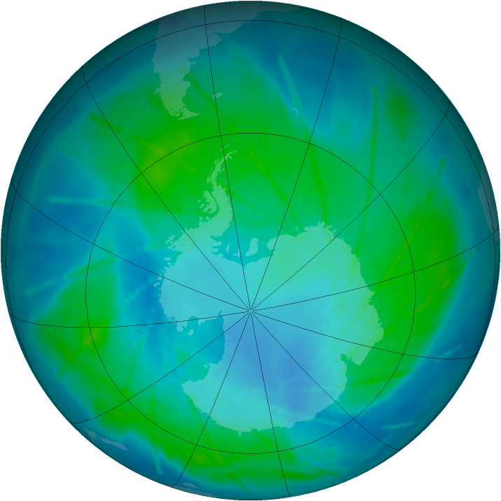 Antarctic ozone map for 01 February 2011