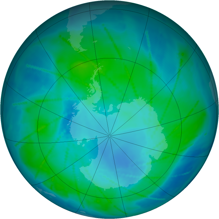 Antarctic ozone map for 02 February 2011