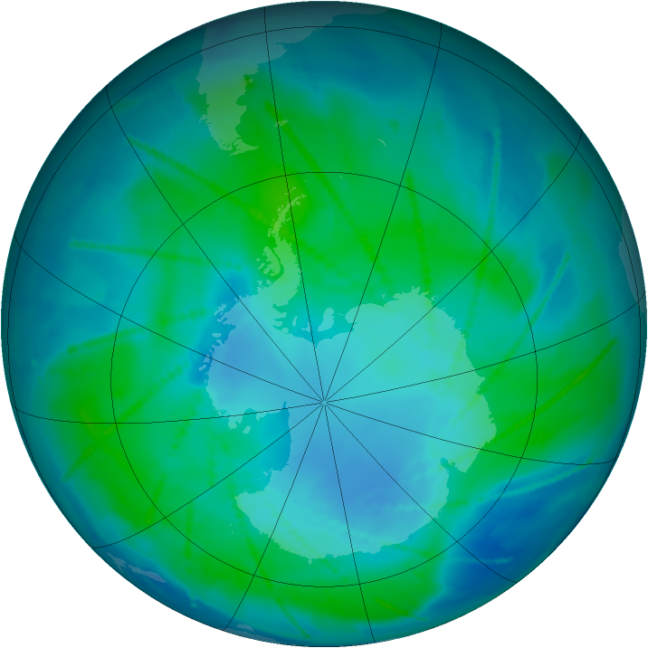 Antarctic ozone map for 03 February 2011