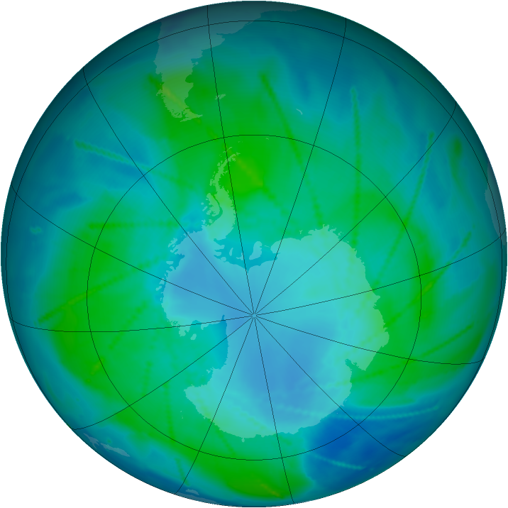 Antarctic ozone map for 04 February 2011