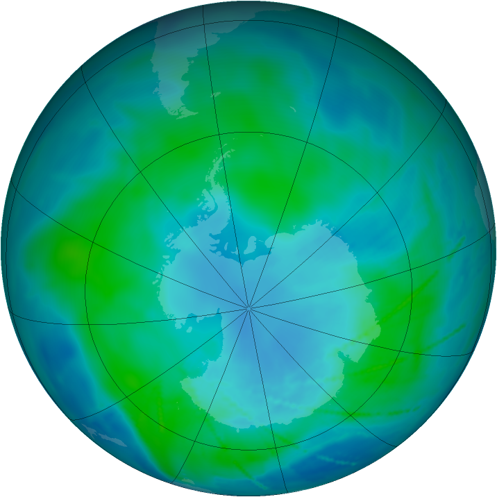 Antarctic ozone map for 06 February 2011
