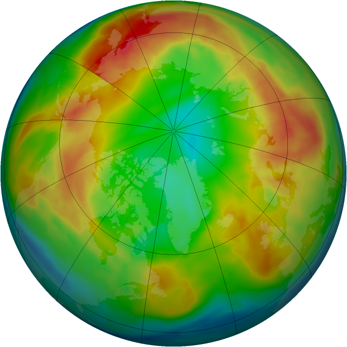 Arctic ozone map for 16 February 2011
