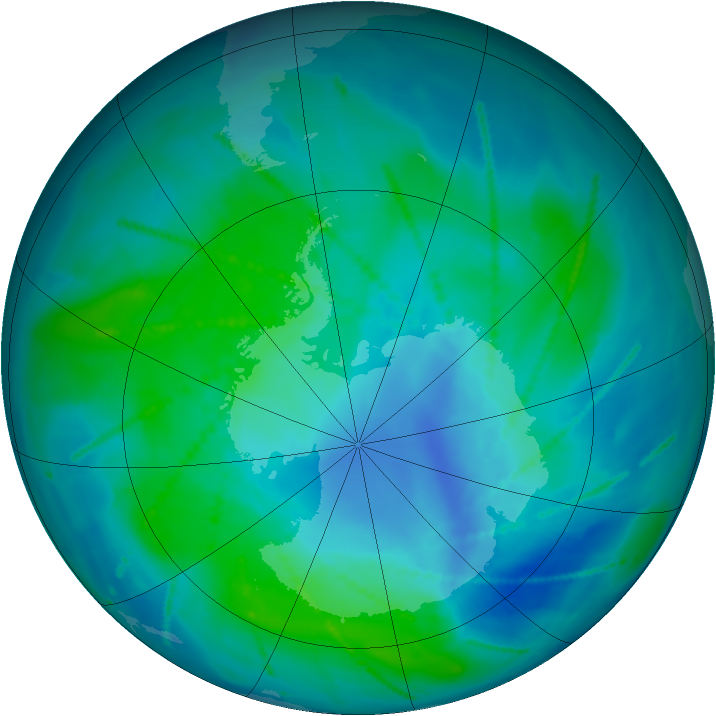 Antarctic ozone map for 18 February 2011