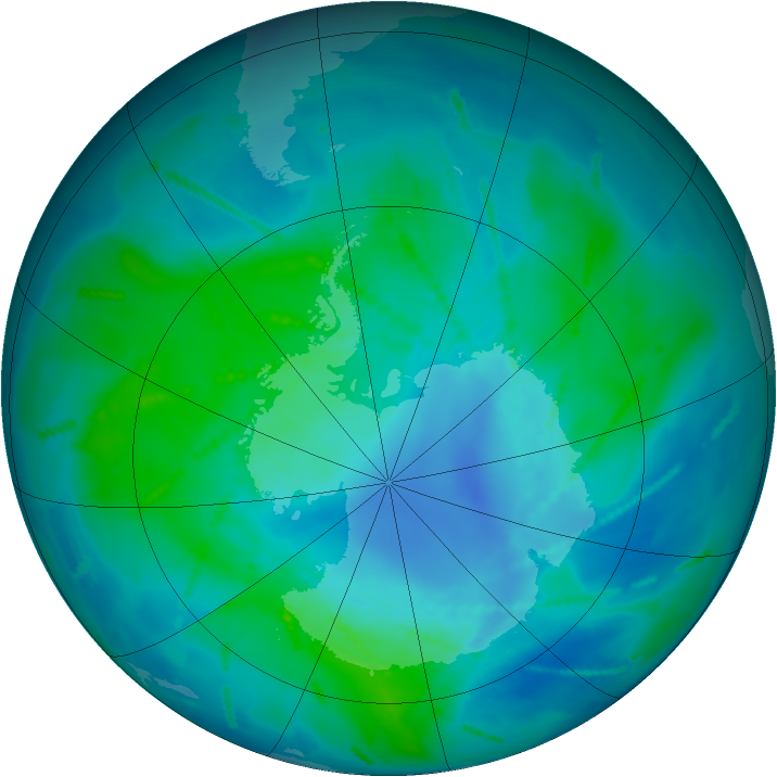 Antarctic ozone map for 19 February 2011