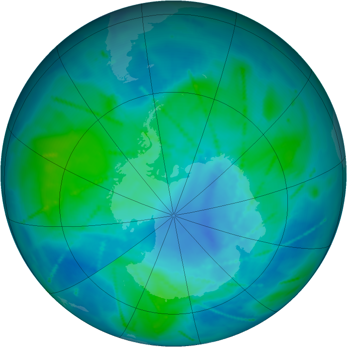 Antarctic ozone map for 20 February 2011