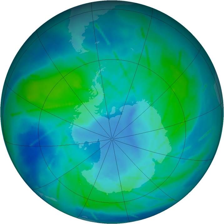 Antarctic ozone map for 23 February 2011