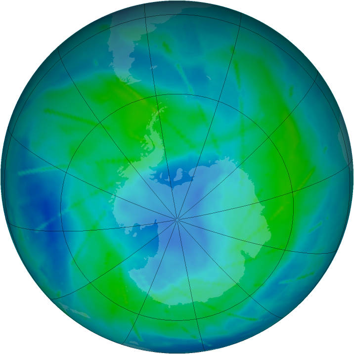 Antarctic ozone map for 25 February 2011