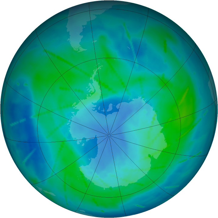 Antarctic ozone map for 26 February 2011