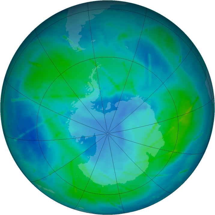 Antarctic ozone map for 27 February 2011