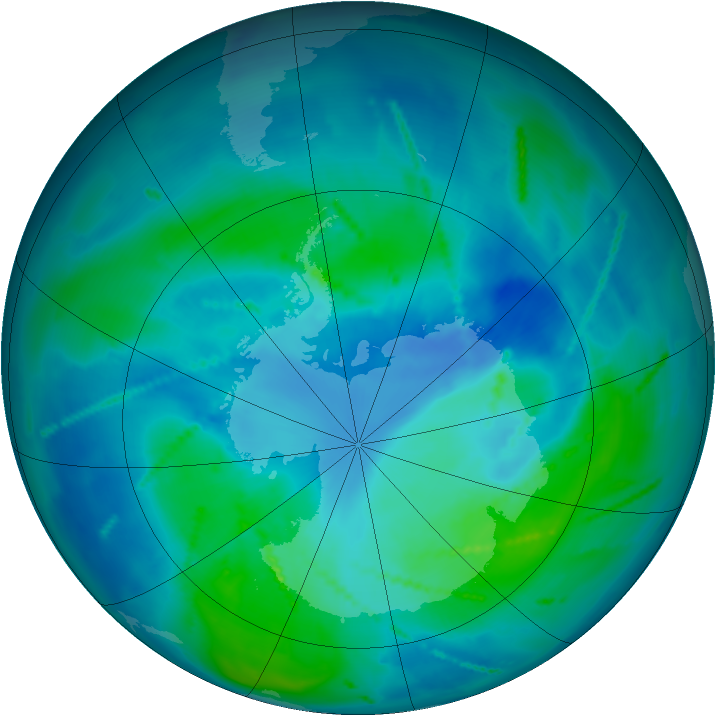 Antarctic ozone map for 03 March 2011