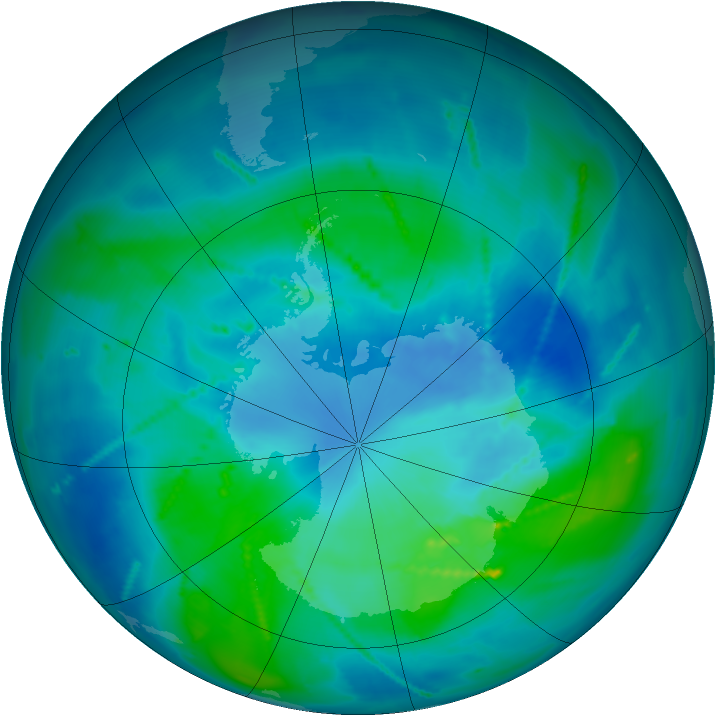 Antarctic ozone map for 04 March 2011